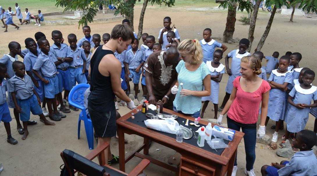 Some Projects Abroad Medicine Volunteers prepare a medical outreach during their project in Ghana.